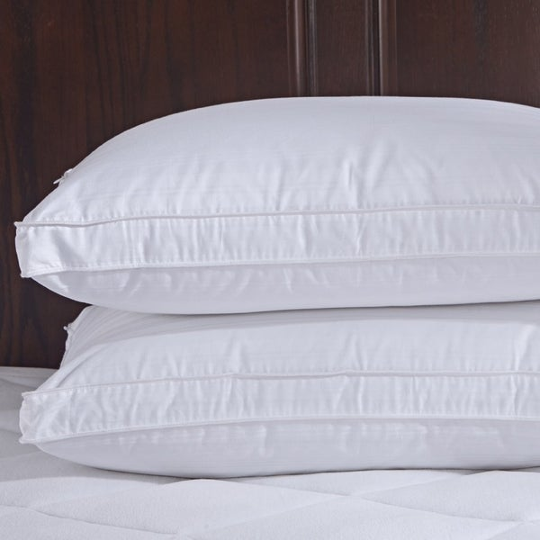 St. James Home Goose Down Gusset Pillow with Pillow Protectors (Set of 2) - White