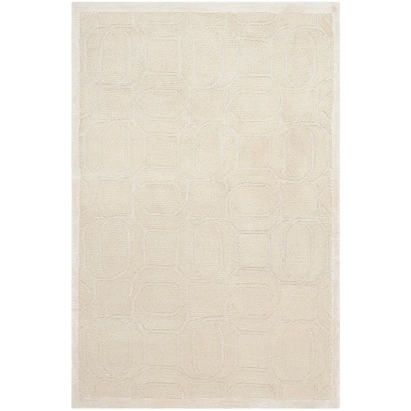 Safavieh Couture Handmade Tibetan Modern Contemporary White Wool Rug