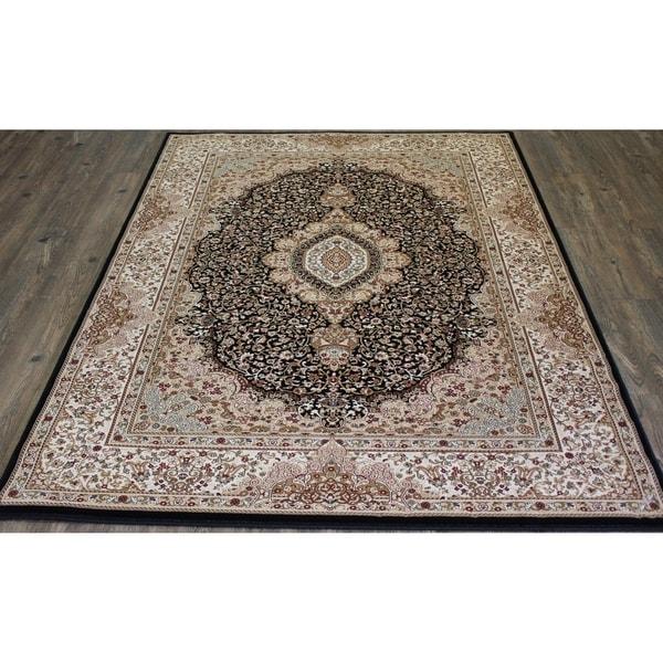 """Black Oriental Indoor Rug 100% Polypropylene - 5'4"""" x 7'5"""""""
