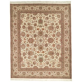 Safavieh Couture Hand-Knotted Royal Kerman Traditional Ivory / Ivory Wool Rug (10' x 10' Round)