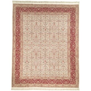Safavieh Couture Hand-Knotted Royal Kerman Traditional Ivory / Red Wool Rug (10' x 10' Round)