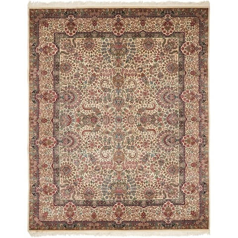 Safavieh Couture Hand-Knotted Royal Kerman Traditional Ivory / Multi Wool Rug (10' x 10' Round)