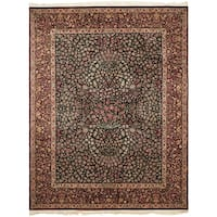 Safavieh Couture Hand-Knotted Royal Kerman Traditional Black / Red Wool Rug (10' x 10' Round)