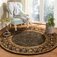 Safavieh Couture Hand-Knotted Florence Classic Black / Black Wool Rug (6' x 6' Round)