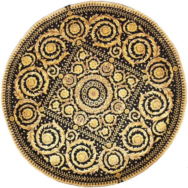 Safavieh Couture Hand-Knotted Florence Classic Black / Gold Wool Rug (6' x 6' Round)