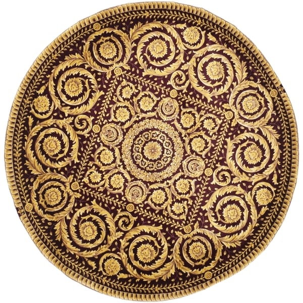 Safavieh Couture Hand-Knotted Florence Classic Red / Gold Wool Rug (6' x 6' Round)