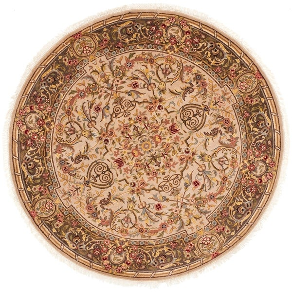 Safavieh Couture Handmade Royal Kerman Traditional Beige / Tan Wool Rug - 6' x 6' Round