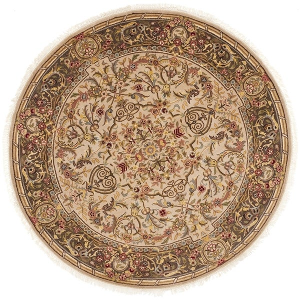 Safavieh Couture Hand-Knotted Royal Kerman Traditional Beige / Tan Wool Rug (6' x 6' Round)