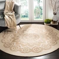Safavieh Handmade Blossom Contemporary Ivory / Beige Wool Rug - 6' x 6' Round