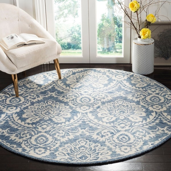 Safavieh Handmade Blossom Contemporary Blue / Ivory Wool Rug - 6' x 6' Round