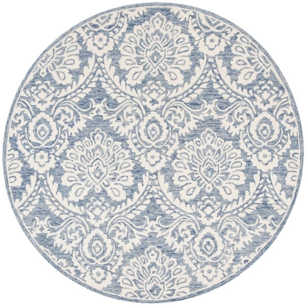 Safavieh Couture Hand-Tufted Blossom Contemporary Blue / Ivory Wool Rug (6' x 6' Round)