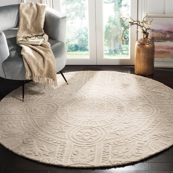Safavieh Couture Hand-Tufted Blossom Contemporary Light Grey / Ivory Wool Rug (6' x 6' Round)
