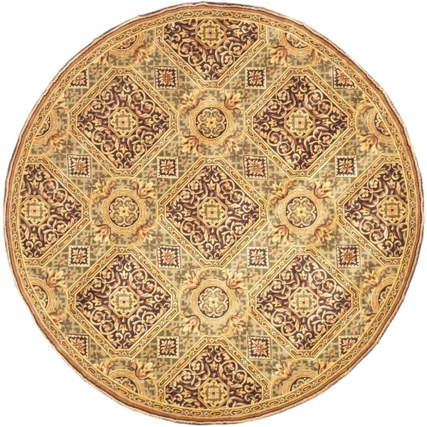 Safavieh Couture Hand-Knotted Florence Classic Gold / Burgundy Wool Rug (8' x 8' Round)