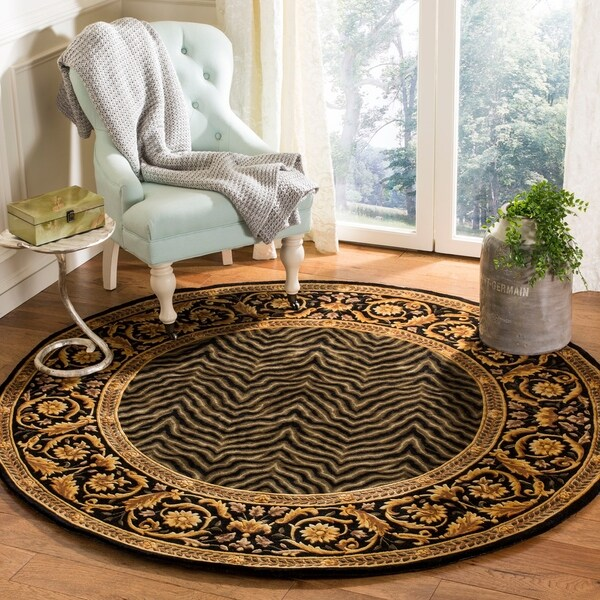 Safavieh Couture Hand-Knotted Florence Classic Black / Gold Wool Rug (8' x 8' Round)