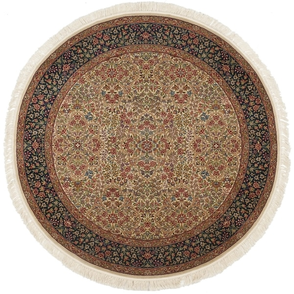 Safavieh Couture Hand-Knotted Royal Kerman Traditional Tan / Navy Wool Rug (8' x 8' Round)