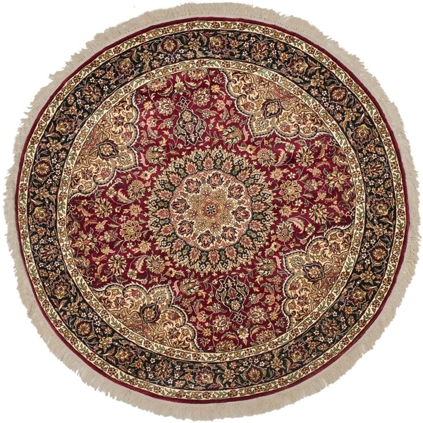 Safavieh Couture Hand-Knotted Royal Kerman Traditional Red / Navy Wool Rug (8' x 8' Round)