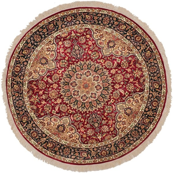 Safavieh Couture Handmade Royal Kerman Traditional Red / Navy Wool Rug - 8' x 8' Round