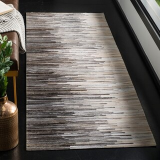 Safavieh Couture Hand-Woven Studio Leather Glam Charcoal / Ivory Leather Rug (2'3' x 7')