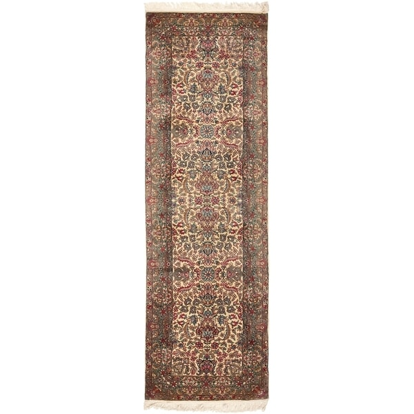 Safavieh Couture Hand-Knotted Royal Kerman Traditional Ivory / Multi Wool Rug - 2'6' x 8'