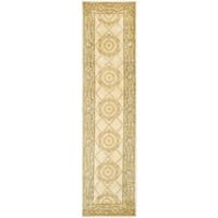 Safavieh Couture Hand-Knotted Florence Classic Ivory / Green Wool Rug - 2'6' x 10'