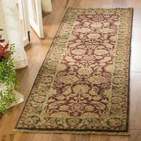 Safavieh Couture Hand-Knotted Old World Vintage Burgundy / Green Wool Rug - 2'6' x 10'