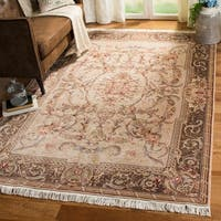 Safavieh Couture Hand-Knotted Royal Kerman Traditional Beige / Tan Wool Rug - 2'6' x 10'