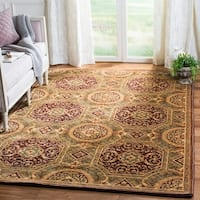 Safavieh Couture Hand-Knotted Florence Classic Gold / Burgundy Wool Rug - 2'6' x 12'
