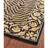Safavieh Couture Hand-Knotted Florence Classic Black / Black Wool Rug - 2'6' x 12'