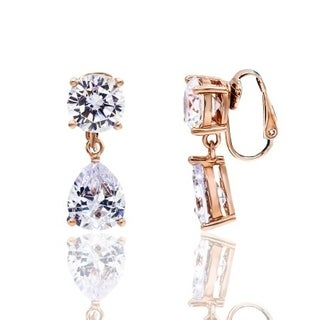 Cubic Zirconia Round and Pear Shape Rose Gold Plated Clip-On Earrings - White