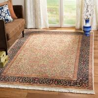 Safavieh Couture Hand-Knotted Royal Kerman Traditional Tan / Navy Wool Rug - 2'6' x 14'