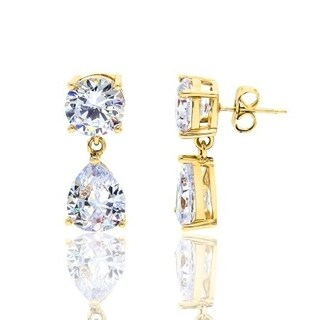 Cubic Zirconia Round and Pear Shape Gold Plated Drop Earrings - White