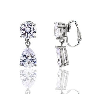 Cubic Zirconia Round and Pear Shape White Gold Plated Clip-On Earrings