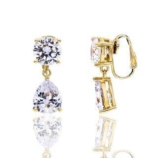 Cubic Zirconia Round and Pear Shape Gold Plated Clip-On Earrings - White
