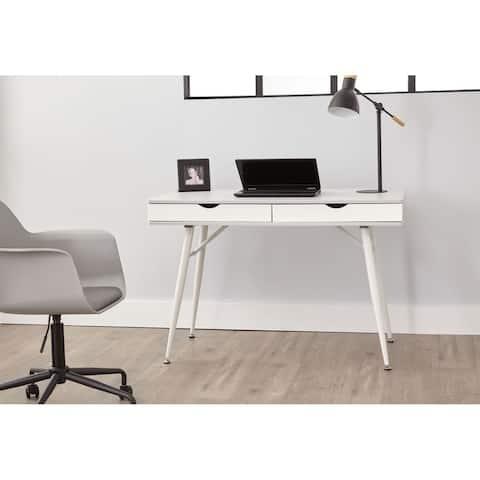Grey 2-drawer Mid Century Modern Desk