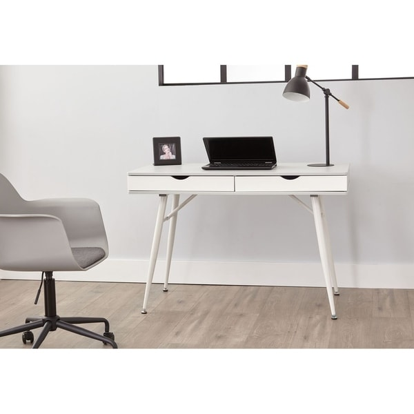 Shop Grey 2 Drawer Mid Century Modern Desk On Sale Free Shipping