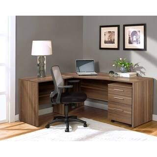 Premium Pro 3-drawer Corner L-shaped Computer Desk (Option: Walnut - Walnut Finish)