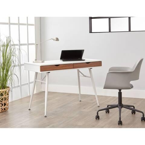 White 2-drawer Mid Century Rectangular Modern Desk