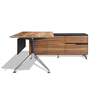 Modern Executive Desk with Right Return Cabinet (Option: Brown/Black - N/A)