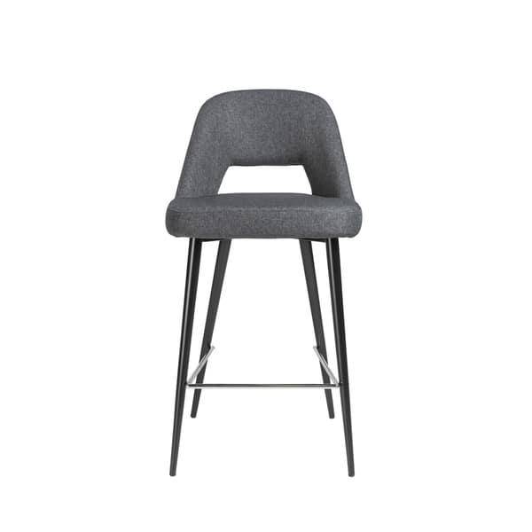 Fine Shop Blair C Dark Grey Fabric Counter Stool With Black Steel Lamtechconsult Wood Chair Design Ideas Lamtechconsultcom