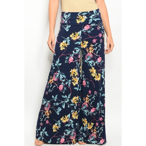 JED Women's Fold Over Waist Floral Wide Leg Palazzo Pants