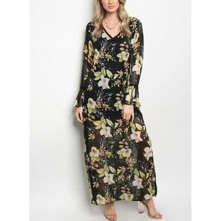 JED Women's Long Sleeve V-Neck Chiffon Floral Dress