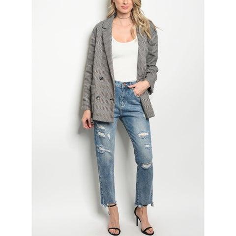 JED Women's Frayed Hem Distressed Slim Jeans