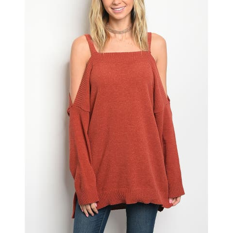 JED Women's Cold Shoulder Sweater Knit Top