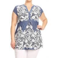 Women's Plus Size Lace Denim Tunic Top
