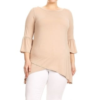 Women's Plus Size Solid Wrapped Front Tunic