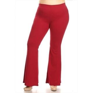 Women's Plus Size Solid Flared Hem Pants