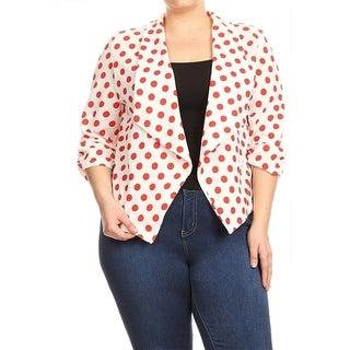 Women's Plus Size Polka Dot Cardigan Blazer Jacket
