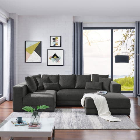 Copper Grove Hamont Charcoal Blue Sectional with Ottoman