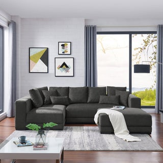 Handy Living Harmony Charcoal Blue Sectional with Ottoman