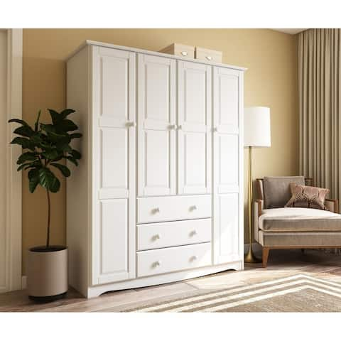 Family 4 Door Solid Wood Wardrobe Armoire Closet By Palace Imports 60 25
